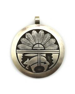 "Hopi Double-Sided Silver Overlay Pendant with Kokopelli and Bear Designs c. 1970s, 2"" x 1.5"""
