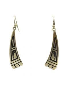 "Arthur Lomayestewa - Hopi Silver Overlay Hook Earrings c. 1980s, 2.25"" 0.5"""