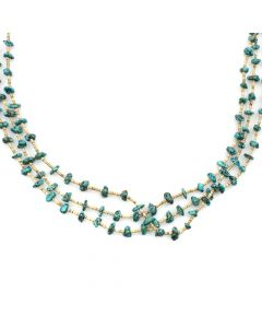 """Santo Domingo Morenci Turquoise and Heishi Necklace c. 1970s, 35"""" length"""