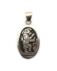 "Hopi Sterling Silver Overlay Kachina Pendant c. 1970s, 1.5"" x 0.75"""