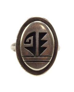 Lendrick Lomayestewa - Hopi Guild - Sterling Silver Overlay Ring c. 1980s, size 7.5