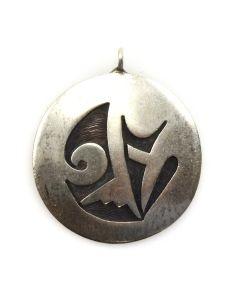 "Effie Tawahongva - Hopi Silver Overlay Pendant c. 1980s, 1"" diameter"