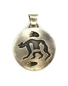 "Hopi Silver Overlay Pendant with Bear Design c. 1970-80s, 1"" diameter"