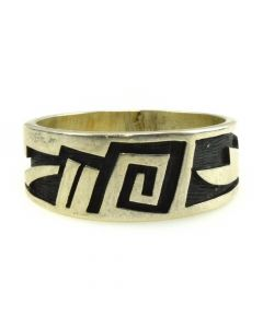 Edward Lomahongva - Hopi Sterling Silver Overlay Ring c. 1980s, size 9