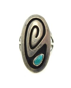 Hopi Turquoise and Silver Overlay Ring c. 1970s, size 6