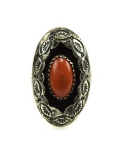 Navajo Coral and Silver Shadow Box Ring with Stamped Design c. 1950s, size 4.75