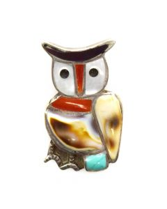 """Zuni Multi-Stone Channel Inlay and Silver Owl Pendant c. 1960s, 1.25"""" x 0.75"""""""