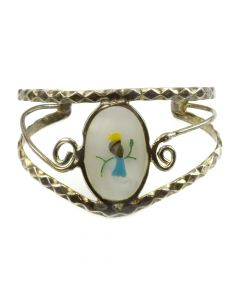 Mexican Mother of Pearl, Abalone, and Silver Bracelet with Bird Design c. 1980s, size 6.25