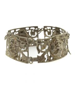 Possibly Mexican Silver Linked Bracelet with Faces c. 1970s (J11266)