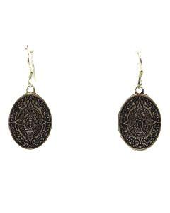 """Mexican Silver Hook Earrings c. 1980s, 1.5"""" x 0.625"""" (J11277)"""