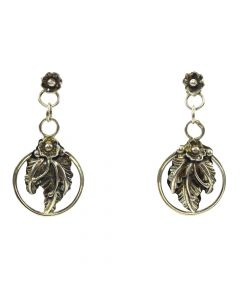 "Navajo Silver Post Earrings with Floral Design c. 1980s, 1.5"" x 0.75"""