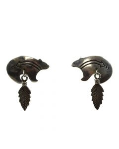 "Navajo Silver Heartline Bear Post Earrings with Feather Design c. 1980s, 1.25"" x 0.875"""