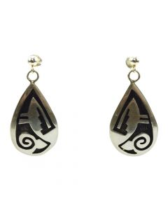 "Elsie Gashwazra - Hopi Sterling Silver Overlay Hook Earrings c. 1990s, 1.5"" x 0.75"""