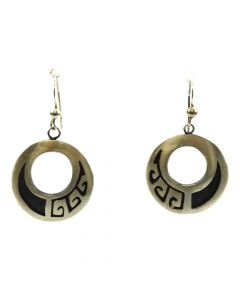 "Hopi Sterling Silver Overlay Hook Earrings c. 1970s, 1.75"" x 1"""