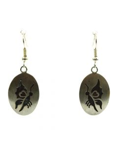 "Robert Gene - Navajo Silver Overlay Hook Earrings with Butterfly Design c. 1980s, 1.75"" x 0.75"""