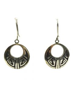 "Hopi Sterling Silver Overlay Hook Earrings c. 1980s, 2"" x 1"""