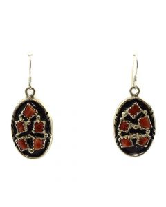 "Navajo Coral Cluster and Sterling Silver Hook Earrings c. 1980s, 1.5"" x 0.625"""