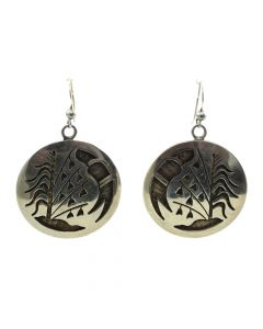 "Kevin Takala - Hopi Silver Overlay Hook Earrings with Cornstalk Design c. 1990s, 1.75"" x 1.25"""
