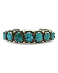 Navajo Turquoise and Silver Bracelet c. 1940s, size 6.5 (J11312)