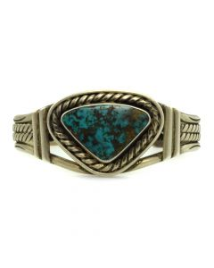 Navajo Turquoise and Silver Bracelet c. 1940s, size 6 (J11314)