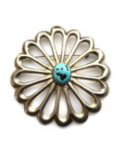 "Navajo Turquoise and Sterling Silver Sandcast Pin c. 1950s, 2.5"" diameter"