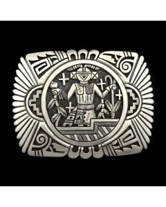 Roy Talahaftewa - First Prize Winner - Contemporary Hopi Silver Overlay Belt Buckle with Kachina Design
