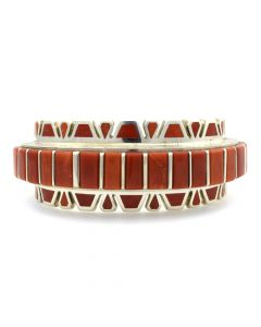 Vernon Haskie - Contemporary Navajo Coral Channel Inlay and Sterling Silver Bracelet, size 6.5