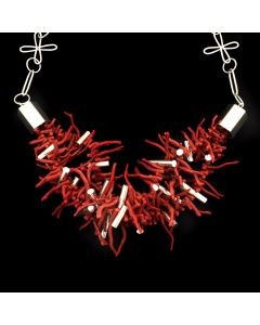 "Rodney Coriz - Contemporary Santo Domingo 3-Strand Coral and Silver Necklace, 28"" length"