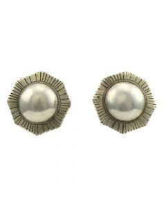 "Mexican Silver Post Earrings c. 1960s, 1.25"" x 1.25"""