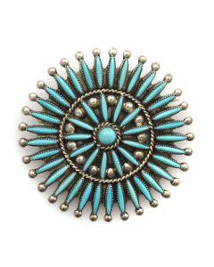 "Bryant Waasta Jr. - Zuni Petit Point Turquoise and Silver Pin/Pendant c. 1990s, 2"" diameter"