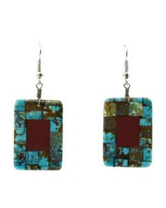 "Angie Reano Owen - Santo Domingo Mother of Pearl, Catlinite, and Turquoise Overlay French Hook Earrings c. 1990s, 2"" x 1"""