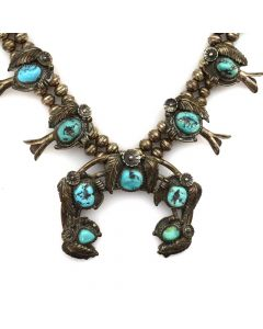 "Navajo Turquoise and Silver Squash Blossom Necklace with Floral and Leaf Design c. 1960s, 28.5"" length"