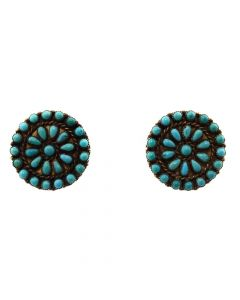 "Zuni Petit Point and Silver Post Earrings c. 1930s, 0.875"" diameter (J11405)"