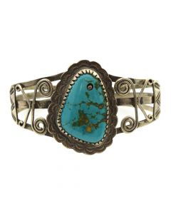 Navajo Turquoise and Silver Bracelet with Spiral Designs c. 1940s, size 6.5 (J11411)