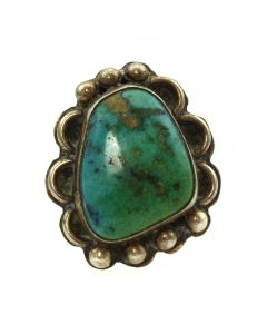 Navajo Turquoise and Silver Ring c. 1940s, size 6 (J11414)