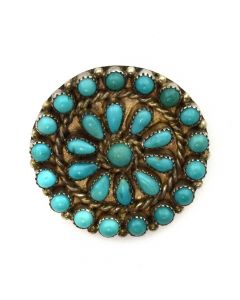 "Zuni Petit Point Turquoise and Silver Pin c. 1930s, 1"" diameter (J11418)"