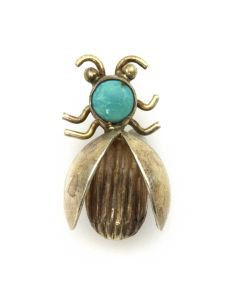 "Navajo Turquoise and Silver Insect Pin c. 1950s, 1"" x 0.625"""