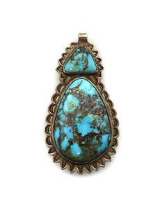 "Navajo Turquoise and Silver Pin/Pendant with Stamped Design c. 1940s, 3"" x 1.5"" (J11422)"