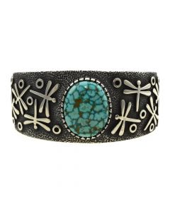 Ramon Dalangyawma - Contemporary Hopi Turquoise and Sterling Silver Overlay Bracelet with Dragonfly Design, size 6.75
