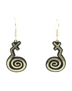 "Ramon Dalangyawma - Contemporary Hopi Sterling Silver Overlay Hook Earrings with Spiral Design, 2"" x 0.75"""