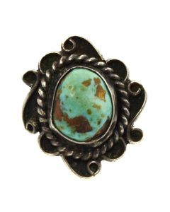 Navajo Turquoise and Silver Ring c. 1950s, size 7.25 (J11436)