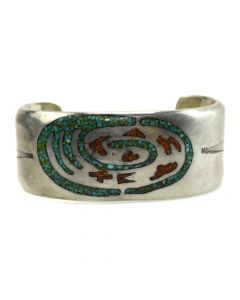 Navajo Turquoise and Coral Chip Inlay and Silver Bracelet with Stamped Design c. 1970s, size 6.75 (J11441)