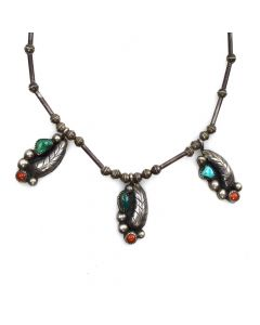 "Navajo Turquoise, Coral, and Silver Necklace with Feather Design c. 1950s, 16"" length (J11442)"