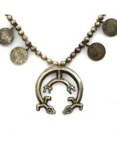 "Navajo Silver Liberty Dime Squash Blossom Necklace with Rainbow God Naja c. 1950s, 24"" length (J11444)"