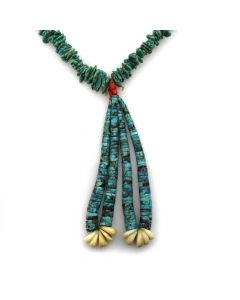 "Navajo Turquoise, Mother of Pearl, and Heishi Necklace with Jocla c. 1960s, 31"" length (J11446)"