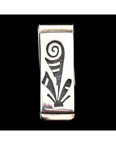 """Hopi Contemporary Silver Overlay Money Clip, 2.125"""" x 0.75"""""""