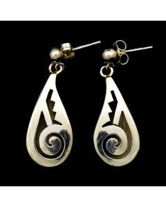 "Sidney Sahneyah (b. 1971) - Hopi Contemporary Sterling Silver Overlay Post Earrings, 1.25"" x 0.5"""