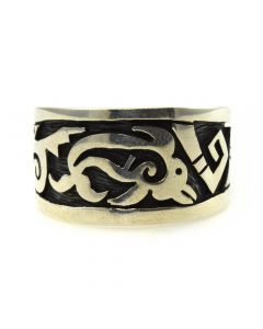 Brian Kagenvema - Hopi Contemporary Sterling Silver Overlay Ring with Whale Design, size 9 (J11458)