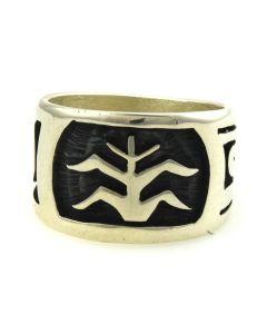 Elmer Setalla Jr. - Hopi  Contemporary Sterling Silver Overlay Ring with Cornstalk Design, size 8