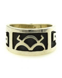Lendrick Lomayestewa - Hopi Contemporary Sterling Silver Overlay Ring with Cloud Design, size 6.75